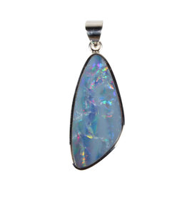 Zilveren hanger opaal (Australië) doublet | 3,8 x 1,7 cm