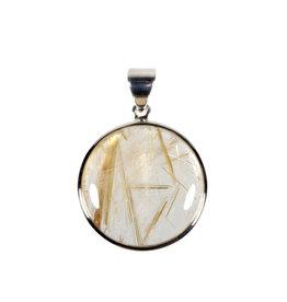 Zilveren hanger rutielkwarts | rond 2,5 cm