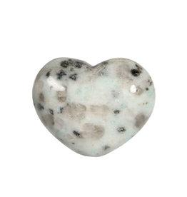 Amazoniet met toermalijn in kwarts edelsteen hart 3 cm