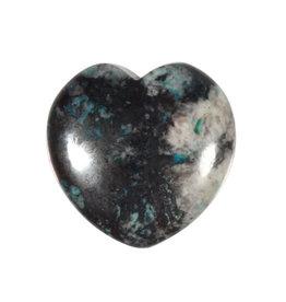 Chrysocolla met hematiet edelsteen hart 3 cm