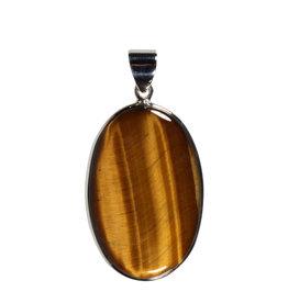 Zilveren hanger tijgeroog | ovaal 3,9 x 2,5 cm