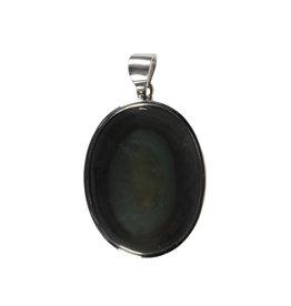 Zilveren hanger obsidiaan (regenboog) | ovaal 3,1 x 2,4 cm