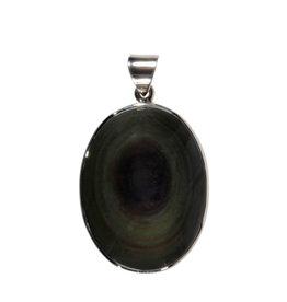 Zilveren hanger obsidiaan (regenboog) | ovaal 3,4 x 2,6 cm