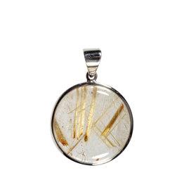 Zilveren hanger rutielkwarts | rond 2,6 cm
