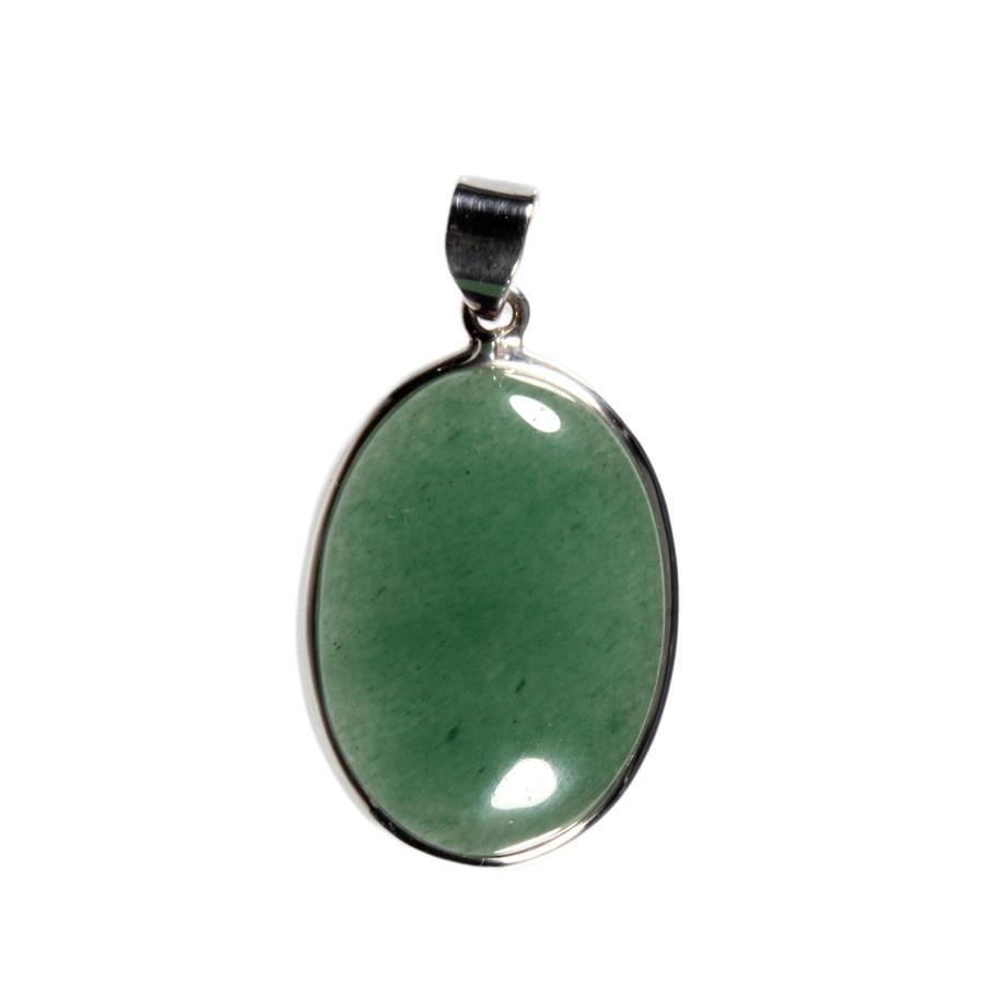 Zilveren hanger aventurijn (groen)   ovaal 3,2 x 2,2 cm