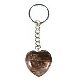 Versteend hout sleutelhanger hart