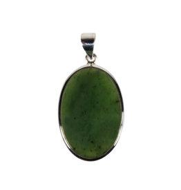 Zilveren hanger jade | ovaal 2,2 x 3,2 cm