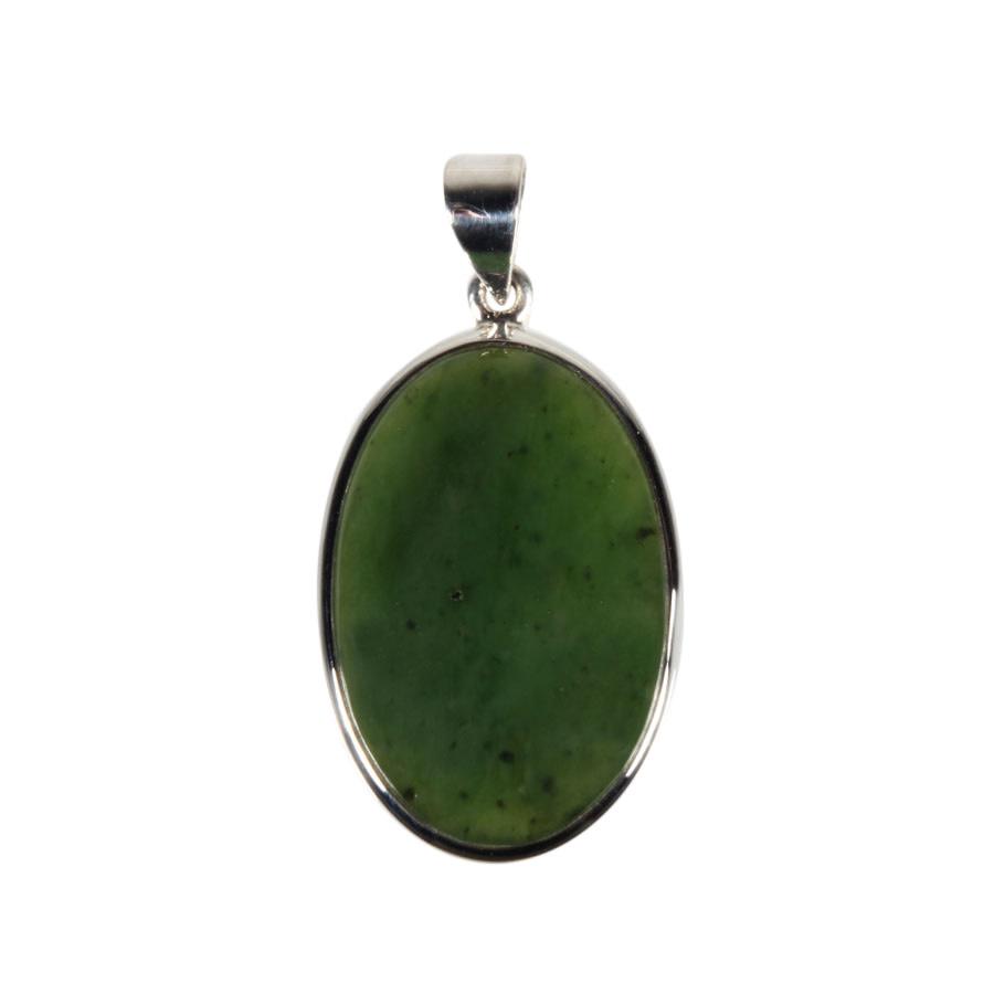 Zilveren hanger jade   ovaal 2,2 x 3,2 cm