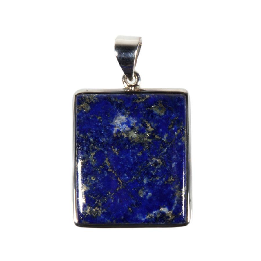 Zilveren hanger lapis lazuli | rechthoek 2,4 x 2,9 cm