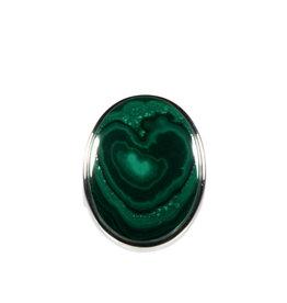 Zilveren ring malachiet maat 18 | ovaal 1,9 x 2,5 cm