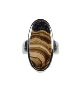 Zilveren ring schalenblende maat 17 1/2 | ovaal 1,2 x 2,6 cm