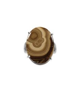 Zilveren ring schalenblende maat 18 | ovaal gezet 1,6 x 2,2 cm