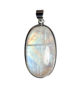Zilveren hanger maansteen (regenboog) A-kwaliteit | ovaal 3,8 x 2,2 cm