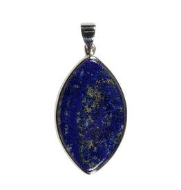 Zilveren hanger lapis lazuli   markies 4,1 x 2,4 cm