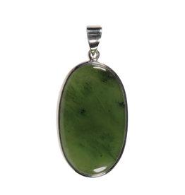 Zilveren hanger jade | ovaal 3,9 x 2,3 cm