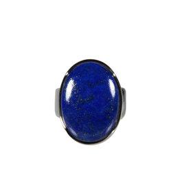 Zilveren ring lapis lazuli maat 17 1/2   ovaal 2 x 1,5 cm