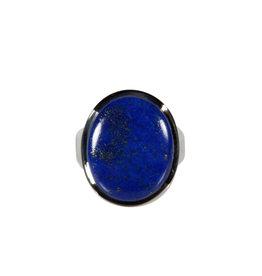 Zilveren ring lapis lazuli maat 17   ovaal 1,8 x 1,5 cm