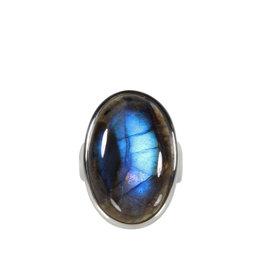 Zilveren ring labradoriet maat 17 1/2 | ovaal 2,3 x 1,5 cm