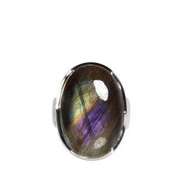 Zilveren ring labradoriet maat 17 1/2 | ovaal 2,3 x 1,6 cm