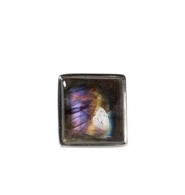Zilveren ring labradoriet maat 17 | rechthoek 1,6 x  1,7 cm