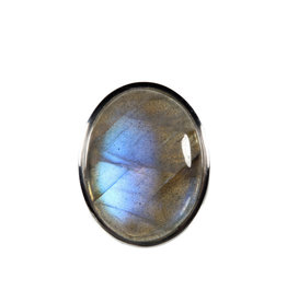 Zilveren ring labradoriet maat 18 | ovaal 2,6 x 2 cm