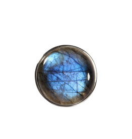 Zilveren ring labradoriet maat 17 | rond 2,2 cmn