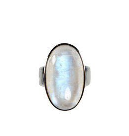 Zilveren ring maansteen (regenboog) A-kwaliteit maat 18 | ovaal 2,5 x 1,4 cm