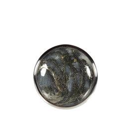 Zilveren ring pyriet (veer) maat 17 1/2 | rond 2,1 cm