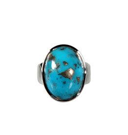 Zilveren ring turkoois met pyriet maat 18 1/2 | ovaal 1,9 x 1,4 cm