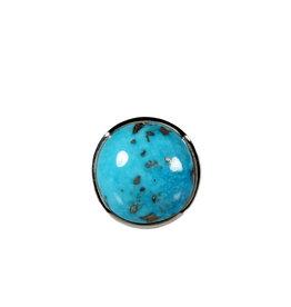Zilveren ring turkoois met pyriet maat 18 1/4 | rond 1,6 cm