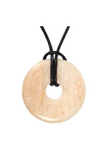 Maansteen hanger donut 3 cm