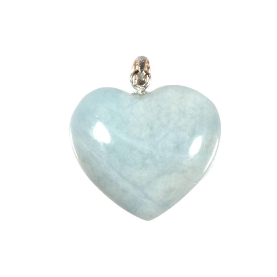 Zilveren hanger aquamarijn hart 2 cm