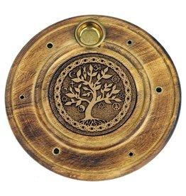 Wierookhouder hout rond levensboom