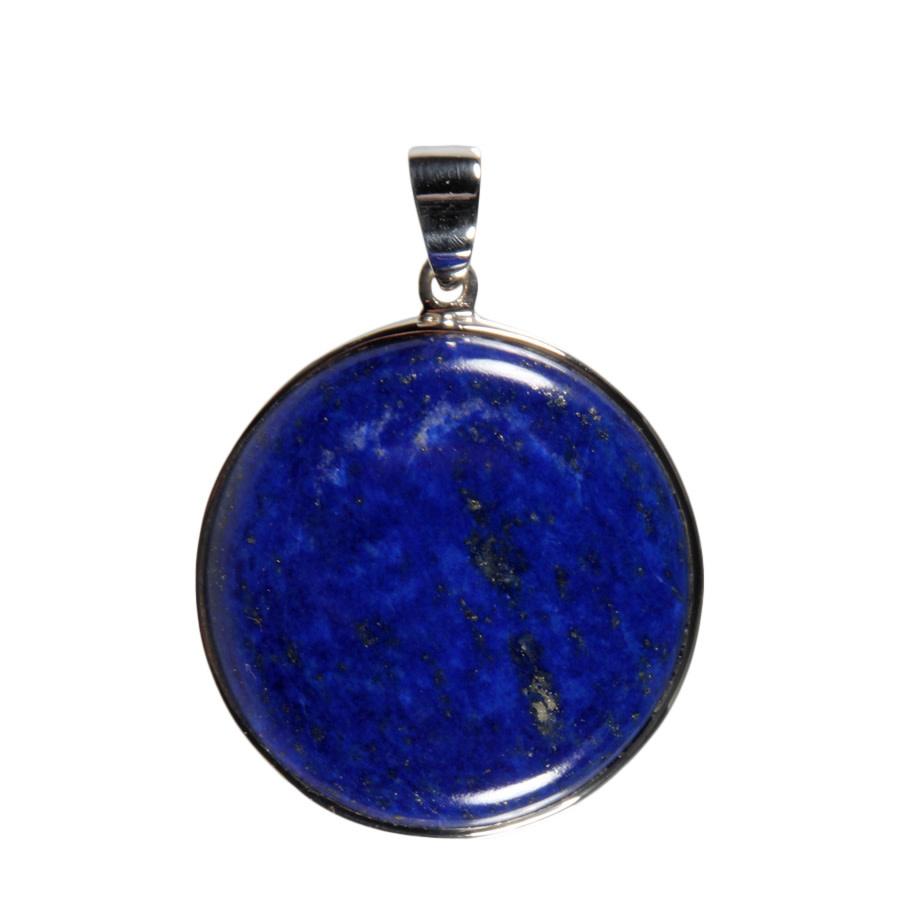 Zilveren hanger lapis lazuli | rond 3,5 cm