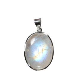 Zilveren hanger maansteen (regenboog) A-kwaliteit | ovaal 2,9 x 2,1 cm