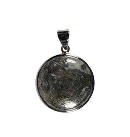 Zilveren hanger pyriet (veer) | rond 2,6 cm