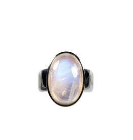 Zilveren ring maansteen (regenboog) A-kwaliteit maat 17 1/4 | ovaal 1,9 x 1,2 cm