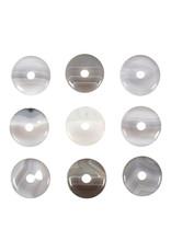 Agaat (grijs) hanger donut 3 cm