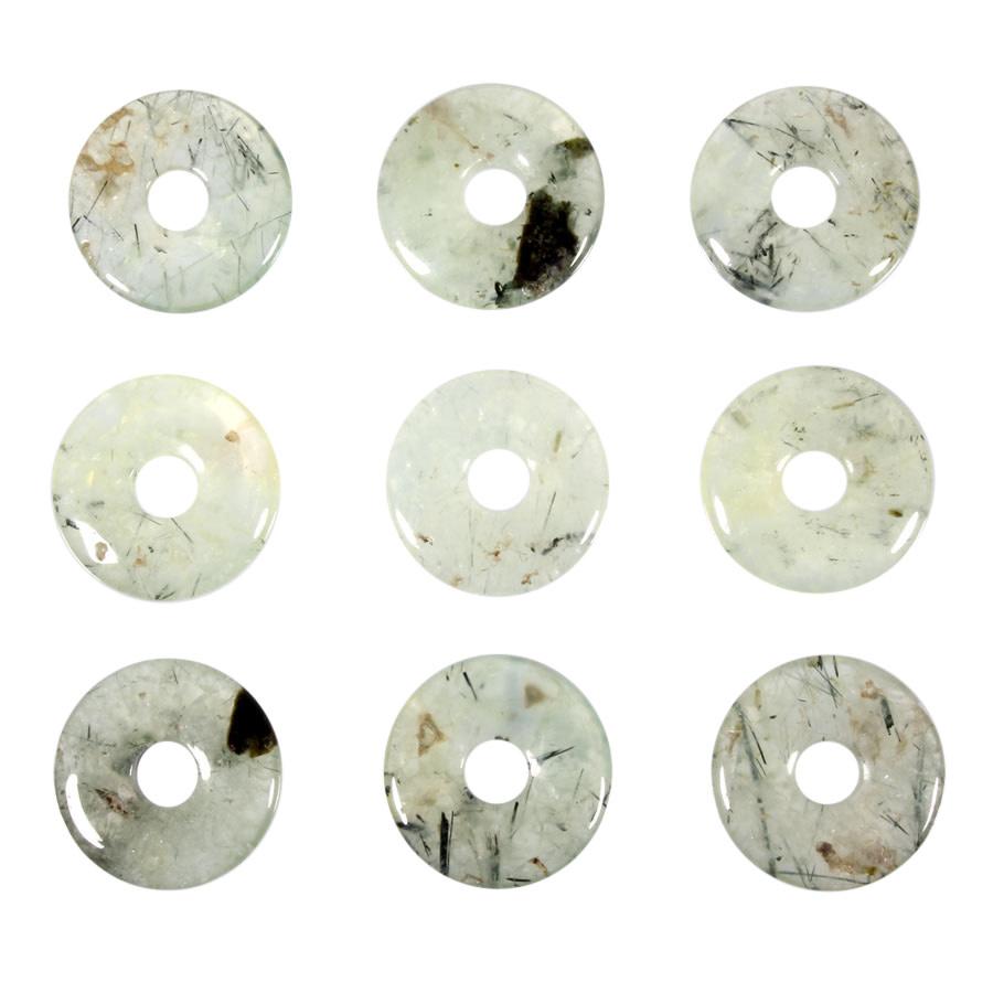 Prehniet met toermalijn hanger donut 3 cm