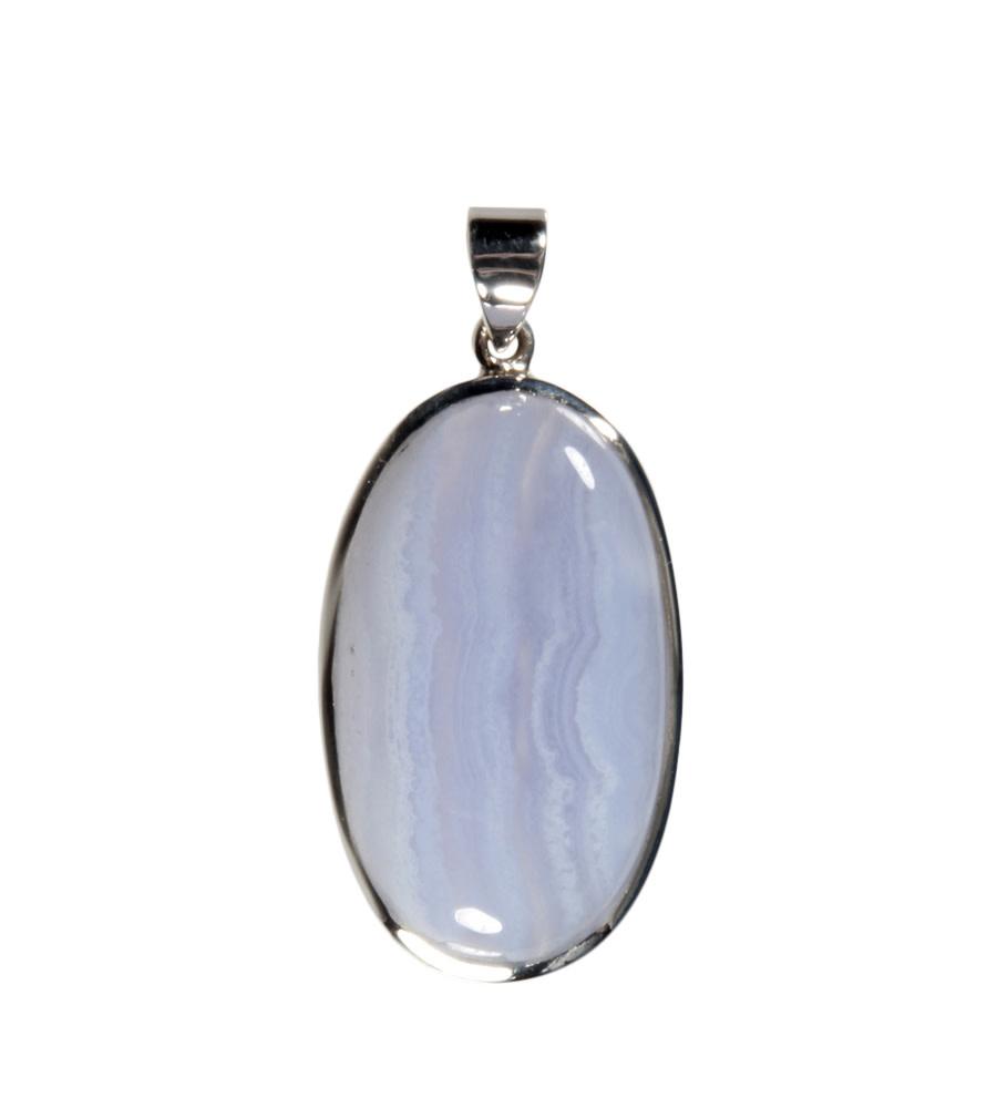 Zilveren hanger chalcedoon   ovaal 3,7 x 2,1 cm