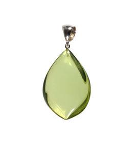 Zilveren hanger barnsteen (natuurlijk groen) | druppel 4,3 x 3,1 cm