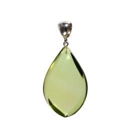 Zilveren hanger barnsteen (natuurlijk groen) | druppel 4,5 x 2,9 cm