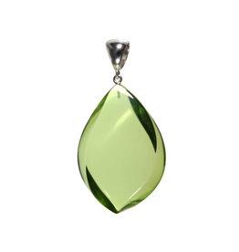 Zilveren hanger barnsteen (natuurlijk groen) | druppel 4,5 x 3,2 cm
