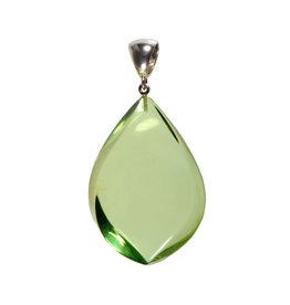 Zilveren hanger barnsteen (natuurlijk groen) | druppel 4,9 x 3,4 cm