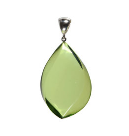 Zilveren hanger barnsteen (natuurlijk groen) | druppel 5 x 3,4 cm