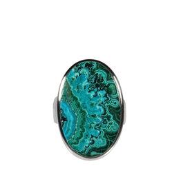 Zilveren ring chrysocolla met malachiet maat 17 1/2 | ovaal 2,5 x 1,6 cm