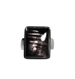 Zilveren ring hyperstheen maat 18 | rechthoek 1,8 x 1,4 cm