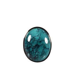 Zilveren ring turkoois maat 18 | ovaal 2,1 x 1,7 cm