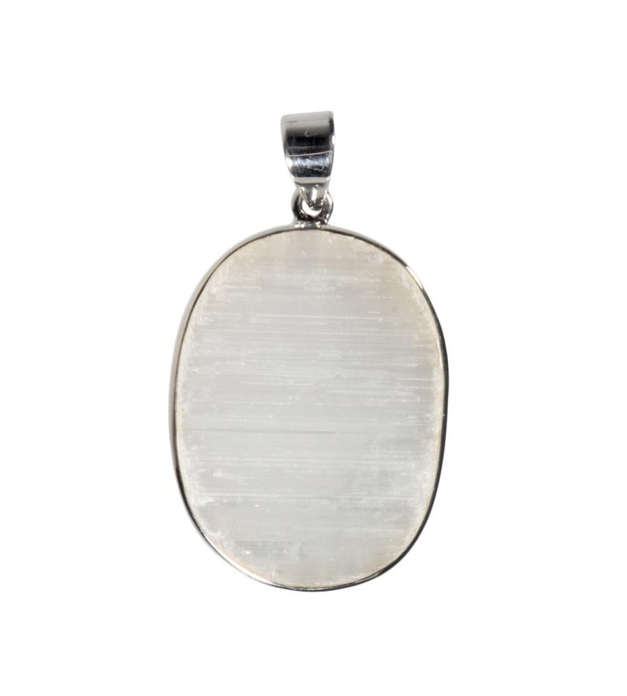 Zilveren hanger seleniet | ovaal 3,4 x 2,5 cm