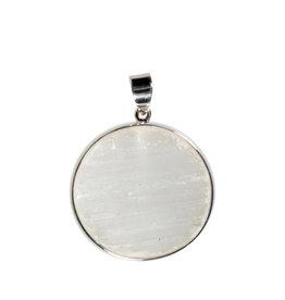 Zilveren hanger seleniet   rond 3,2 cm